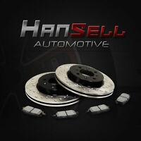 [Front Cross Drilled Brake Rotors Semi Metallic Pads] Fit 99-06 Volvo S80 305mm