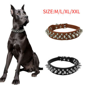 PU Leather Dog Collar Adjustable Studded Rivets Neck Strap Collars For Pets/Dogs