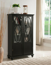 Kings Brand Furniture Black Finish Wood Curio Bookcase Cabinet with Glass Doors