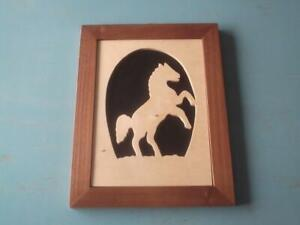 Large Fretwork Picture Rearing Horse