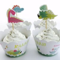 12x Dinosaur Cupcake Topper + 12 Wrapper. Party Supplies Lolly Loot Bag Cake