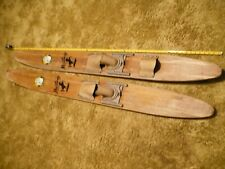 "Vintage Pair of 1950s Florida Cypress Gardens Mustang 64"" Wood Water Skis, used"