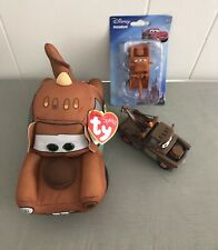 Lot of 3 Disney Pixar Cars MATER Figurines New & Used Truck Toys ty Beanie Baby