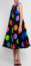 EUC D&G women's polka dot print silk S/L halter tent dress in yellow/black sz6