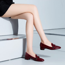 Women's Red Wine Genuine Leather Casual Slip-ons With Low Heel Size Euro 39