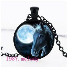 NEW Cabochon Glass necklace Silver/Bronze/Black pendant(horse and moon