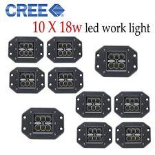 CREE 10pcs 18w Led Work Light 6500k Flush Mount Cube Flood Beam Fog Lamp Driving