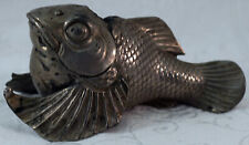 Whimsical Figural Fish Goldfish Inkwell White Metal with Milk Glass Insert