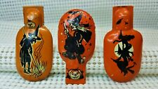 Lot 3 Vintage Kirchhof - Witches Jack o Lanterns Halloween Clicker Noise Makers