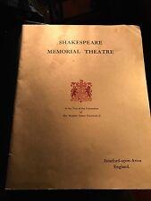 PROGRAM SHAKESPARE MEMORIAL THEATRE STRATFORD  UPON AVON ENGLAND