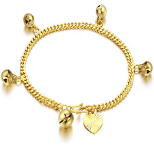 Women's Ladies adjustable Stainless Steel Bell Charm Chain Bracelet Bangle KS172