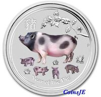 2019 1oz .9999 Australian Lunar Year of the Pig Silver Colorised  Bullion Coin
