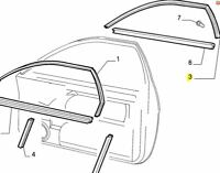Fiat Coupe Nearside / Left Hand Front Door Glass Seal Rubber 46303927 Genuine
