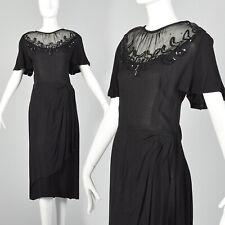 L 1940s Black Dress Rockabilly Draped Skirt Sheer Yolk Sequin Rhinestone 40s VTG