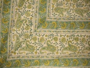 """Rajasthan Block Print Paisley Tapestry Cotton Bedspread 108"""" x 88"""" Full-Queen"""
