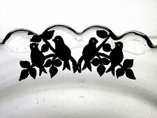 Two Beautiful Antique Sterling Silver Love Birds Overlay On Crystal Glass Bowls