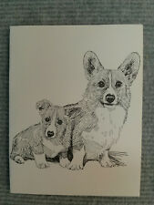 Welsh Corgi Pen & Ink Stationary Cards, Note Cards, Greeting Cards. 10 ct.