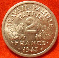 FRANCE 2 FRANCS 1943 AU/BU HIGH GRADE KM# 904.1 Large 27mm Coin