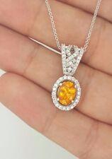 AUTHENTIC LE VIAN 18K WHITE GOLD ROUND DIAMOND & OVAL CITRINE GEMSTONE PENDANT