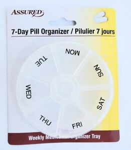 7 day pill box round organizer daily weekly medicine vitamin tablet clear