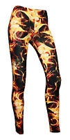 Women's Sexy Hot Fire Flames All Over Printed Fashion Leggings Size 8-22 Goth