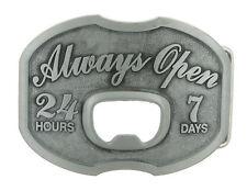 Always Open 24/7 Bottle Opener Western Metal Novelty Belt Buckle