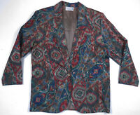 Vintage 1990s Multi Color Geometric Abstract Aztec Southwest Tapestry Jacket M