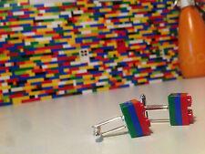 Pair Handmade MonkiStuff Cufflinks, Red, Blue & Green made using LEGO® Bricks