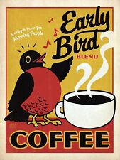METAL VINTAGE SHABBY-CHIC TIN SIGN EARLY BIRD BLEND COFFEE WALL PLAQUE