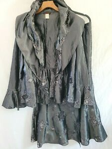 Womens Design Today's Silver Beaded Embroidered Jacket & Skirt Suit XL