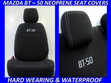 MAZDA BT-50 MK1 UP  FRONT& REAR NEOPRENE OPEN BACK SEAT COVERS MAP POCKET ACCESS