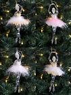 Gisela Graham Ballerina Fairy Christmas Tree Decoration Hanging Pink Acrylic