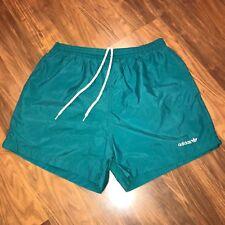 "Vtg 80s 90s ADIDAS Blue TREFOIL Logo Mens  LARGE Nylon 4"" Inseam Athletic Shorts"