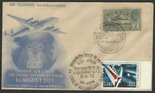 India Combination FDC 1929 (used 1953) & 1973 Airmail