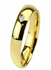 4, 6 or 8mm Stainless Steel Single Cz Gold Plated Wedding Band Ring