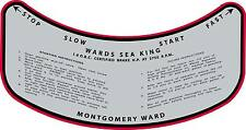 Vintage antique 1930s MONTGOMERY WARD SEA KING OUTBOARD MOTOR CONTROL  Decal