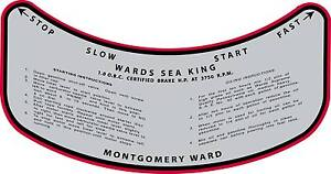 """Vintage antique 1930s MONTGOMERY WARD SEA KING OUTBOARD MOTOR CONTROL 4"""" Decal"""