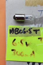 Pack 5 x MBC BA9S 6.5v 300mA 2.0w clear tube tubular bulbs Diameter10mm L28mm