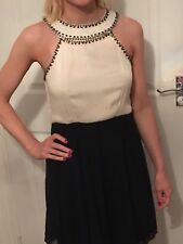 Cream and Navy halter neck Dress Size 8