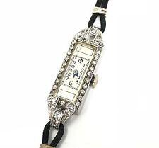 Vintage Estate Platinum Diamond Watch 14K White Gold Clasp