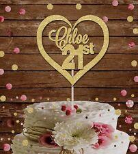 21st Cake topper, heart custom birthday decoration,glitter card,16th 18 21 30 40