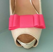 2 Fuschia Pink Triple Bow Clips for Shoes - other colours on request