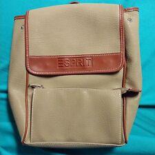 """ESPRIT 90's Beige w/Tan Trim Faux Leather Purse BackPack Style 13""""H x 11""""W EUC"""