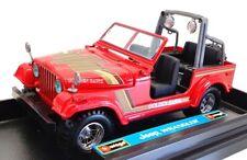 "Burago 1/24 Scale Model Car 5007 - Jeep Wrangler ""Golden Hawk"" - Red"
