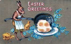 Easter Fantasy  Postcard- Dressed Lady Rabbit with Frying Pan Cooks Eggs-h533