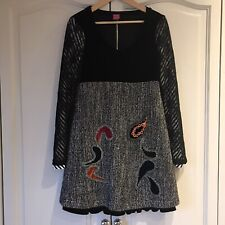 Save The Queen Dress Size Large (L) Embroidered Wool Knit Skirt & Velvet Top