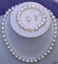7-8mm weißen Süßwasser Perlen kette Armband Ohrringe