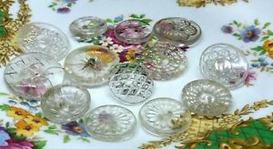 Vintage job lot of assorted  size clear glass buttons