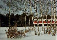 Eisenbahn Motiv-Postkarte DDR 1985 Schnellzug Personenzug Lokomotive im Winter
