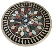 "30"" Marble Round Dining Table Top Marquetry Inlay Handcrafted Kitchen ArtE624(1)"